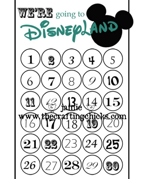 countdown chart template someday crafts disney countdown
