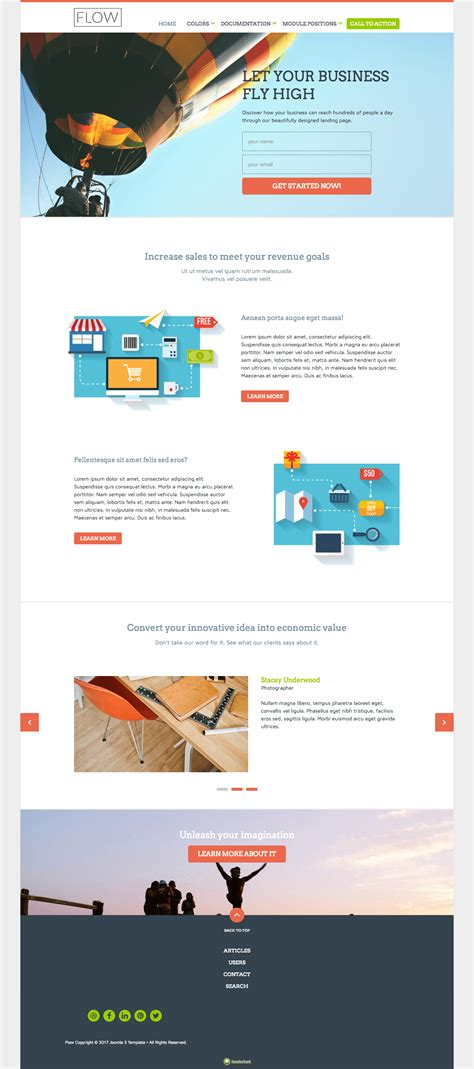 flow joomla template for landing page design to promote