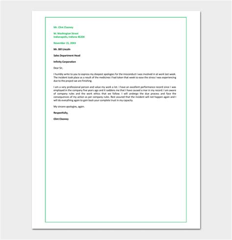 Apology Letter To Employer Second Chance Apology Letter To 7 Sles Blank Formats