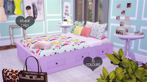 sims  blog basic double bed frame   colors  dreamcatchersims