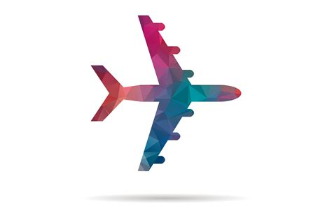 low poly colorful icon plane ~ Illustrations ~ Creative Market