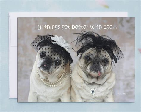 pug birthday cards birthday card for birthday cards if things get better with age