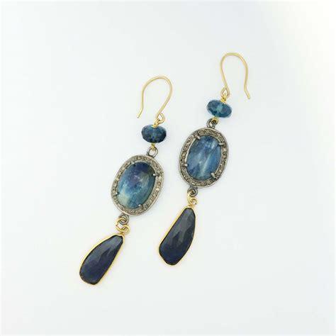 18k Gold Drop Earring 18k blue topaz drop earrings jones