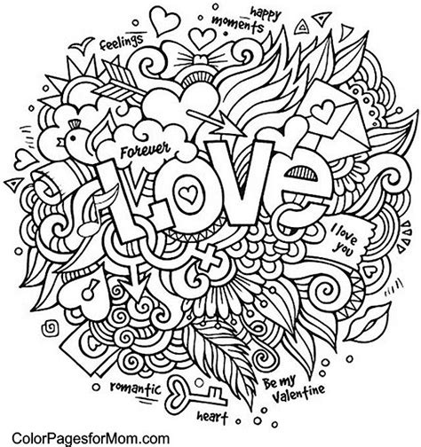 advanced valentine coloring pages doodle love colouring zentangles adult colouring