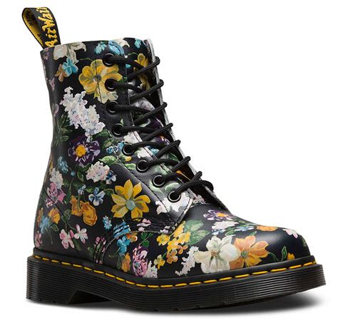 s floral boots dr martens pascal darcy floral black leather flower