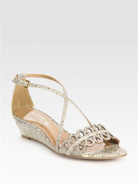 elie tahari lasercut snakeprint leather wedge sandals