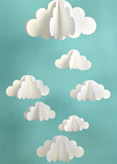 How To Make A Paper Mobile - pin cloud cut out pattern on