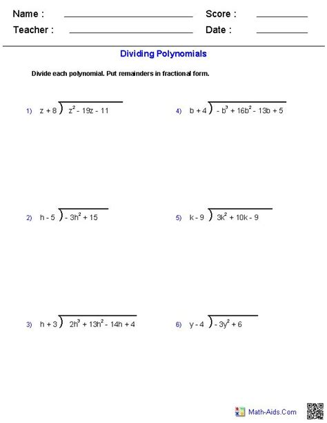 Division And Synthetic Division Worksheet by Solving Polynomial Equations Using Synthetic Division