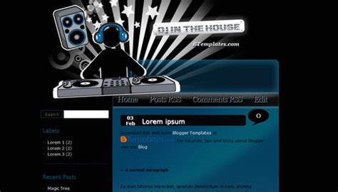 Dj In The House Blogger Template Btemplates Dj Website Templates Free