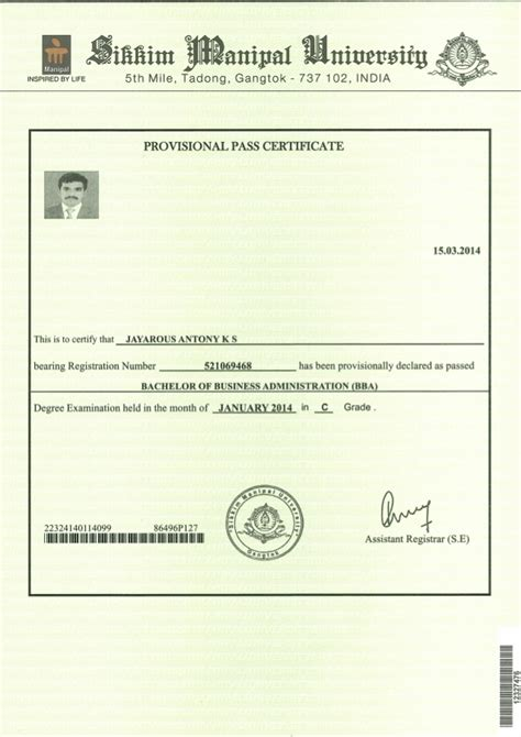 Smu Mba Passing Marks by Provisional Pass Certificate Sikkim Manipal