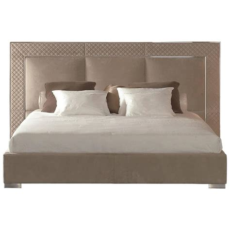 Bed Sigma sigma bed with low headboard leather upholstery bronze or steel frame for sale at 1stdibs