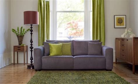 Grey And Purple Sofa This Dusky Grey Purple Sofa Contrasts With Lime Green And Aubergine To Create An Appealing Yet