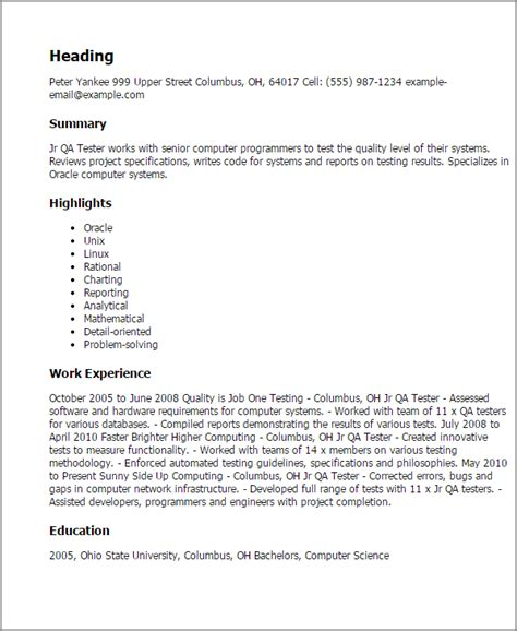 Qa Tester Resume Sles Professional Jr Qa Tester Templates To Showcase Your