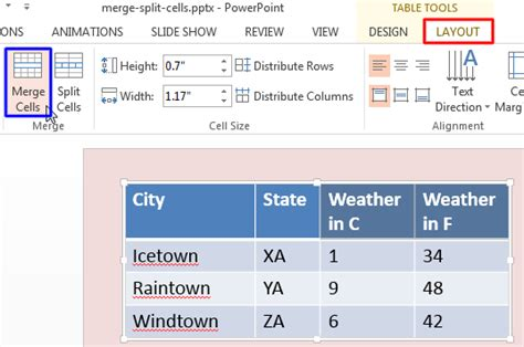 Html Table Merge Cells by Merge And Split Table Cells In Powerpoint 2013 For Windows