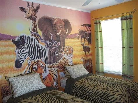 animal themed childrens bedrooms jungle  wild design