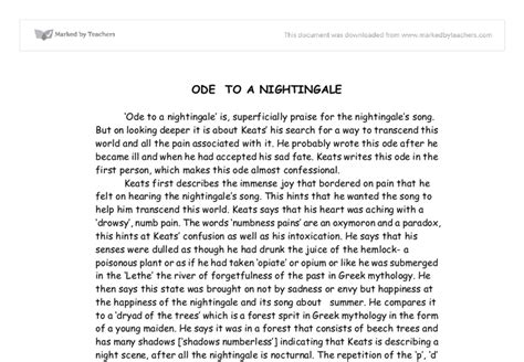 Ode To A Nightingale Essay by Ode To A Nightingale Essay