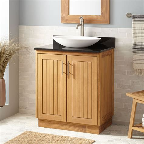 36 quot narrow depth montara teak vessel sink freestanding modern sink vanity signature hardware