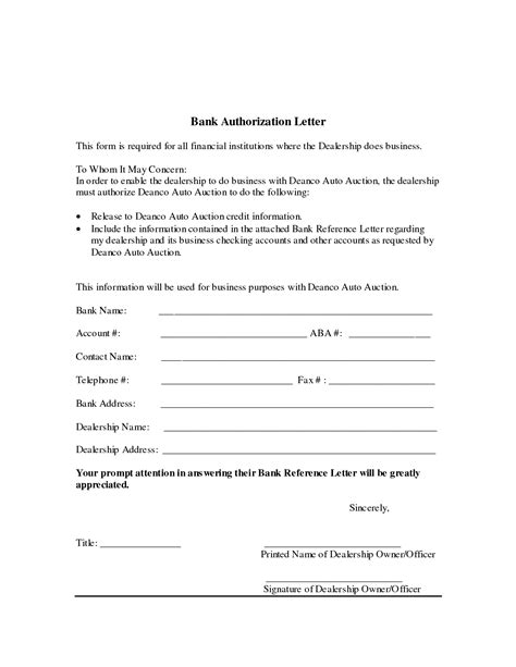 authorization letter format for bank noc authorization letter for bank writing a bank