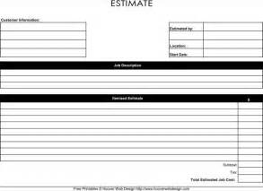 Estimate Template Free by Blank Estimate Template Free Premium