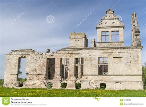 neo baroque building ruins of the ungru manor estonia stock photo image 55130120