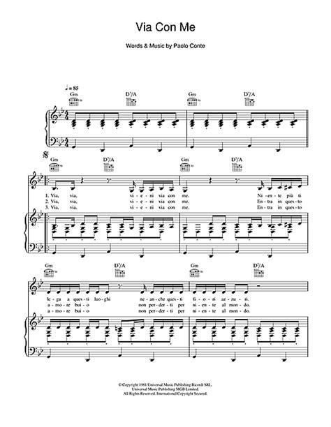 testo via con me paolo conte via con me partition par paolo conte piano chant et