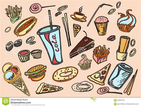 doodle food icons set fast food icons set doodle drawing vector illustration