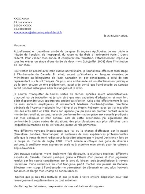 Lettre De Motivation Ambassade Visa Lettre Motivation Stage 4