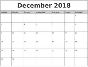 2018 Calendar By Month December 2018 Monthly Calendar Printable