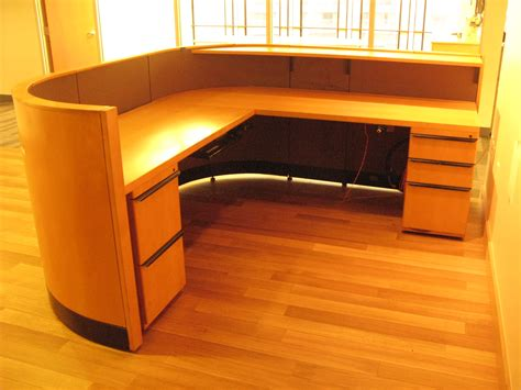 Used Reception Desks For Sale 94w X 87d Reception L Desk In Maple Wood Exterior