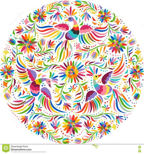 mexican pattern vector art vector mexican embroidery round pattern stock vector