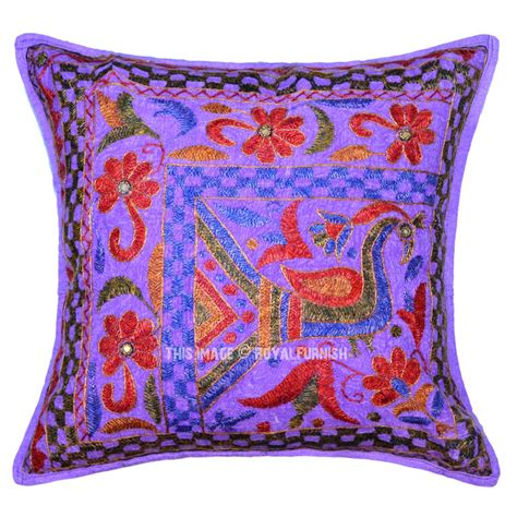 16x16 purple peacock theme needlepoint cotton throw