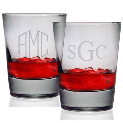 monogrammed barware glasses susquehanna double old fashioned glasses monogram set of 4