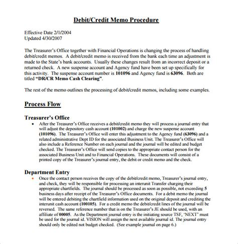 Credit Memo Letter Template Sle Credit Memo 7 Documents In Pdf Word