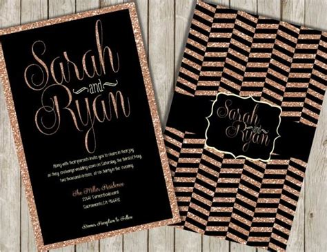 Wedding Invitations Black And Gold by Glitter Wedding Invitations Gold Glitter Invitations