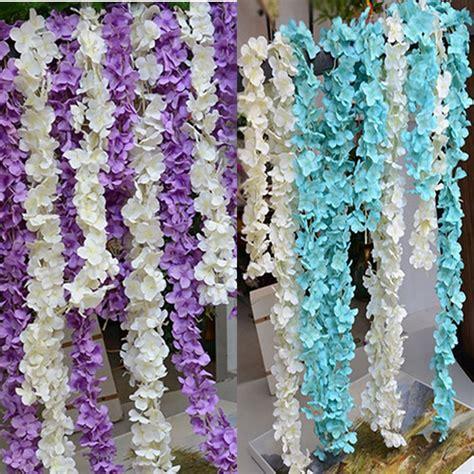 36 Pcs Artificial Silk Hydrangea Flower Floral Wedding 36pcs X 34cm Silk Wedding Decor Wall Hanging Artificial Wisteria Hydrangea Flower Branch Garland