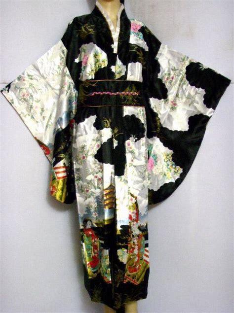 Clasic Kimono Black free shipping black vintage japanese s silk satin kimono yukata evening dress flower one
