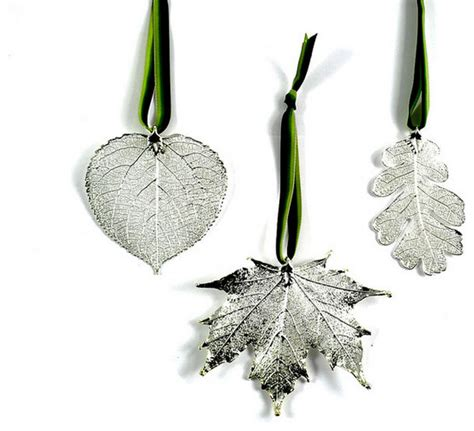 real leaf ornaments dipped in precious metals silver set