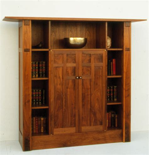 walnut display bookcase