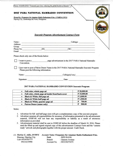 Souvenir Program Advertisement Contract Form Pdf Docdroid Ad Contract Template