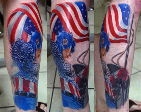 captain america tattoos captain america on marvel tattoos