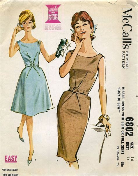 dress pattern etsy vintage mccall s dress pattern 6802 misses size 16