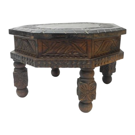 carved end tables carved drum end table chairish