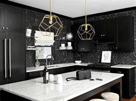 black kitchen backsplash black and white kitchen design ideas