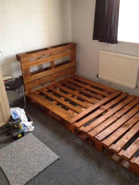 bed frame from pallets notinabox diy pallet bed
