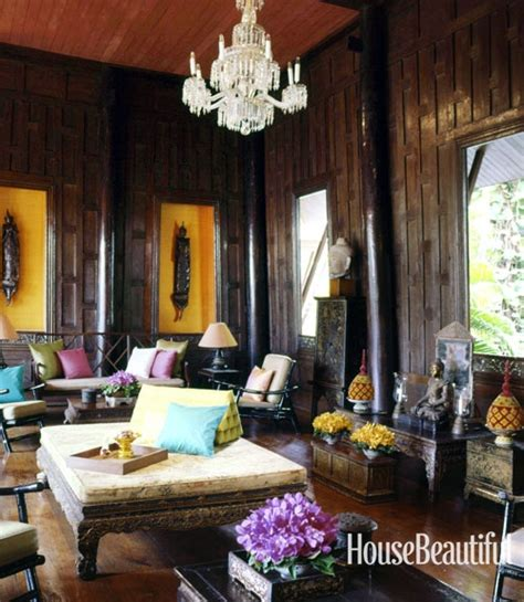 thai home decor iconic fabric designer jim thompson s living room in