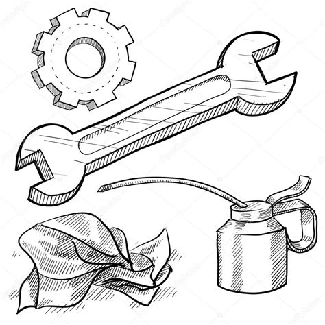 doodle drawing tools mechanic tools drawing