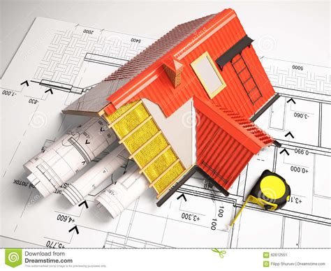 civil engineer home design 3d design of roofs on a background of drawings stock
