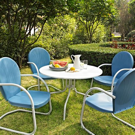 Patio And Pool Furniture Blue White Outdoor Metal Retro 5 Dining Table Chairs Set Patio Furniture Ebay