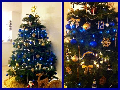 blue and gold san diego chargers inspired christmas tree
