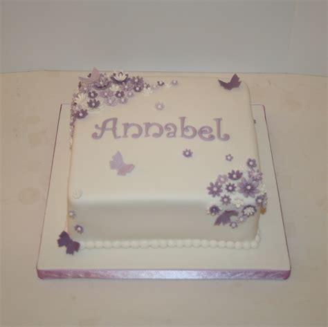 Purple flowers & butterflies   christening cake